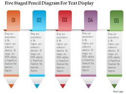 1214 Five Staged Pencil Diagram For Text Display Powerpoint Template