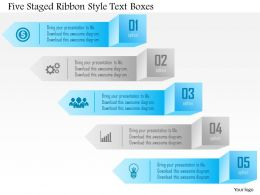 1214 Five Staged Ribbon Style Text Boxes Powerpoint Template