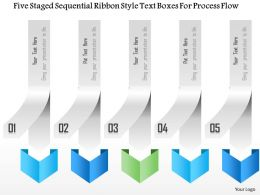 1214 Five Staged Sequential Ribbon Style Text Boxes For Process Flow PowerPoint Template