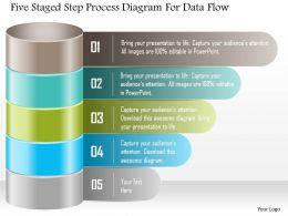 1214 Five Staged Step Process Diagram For Data Flow Powerpoint Template