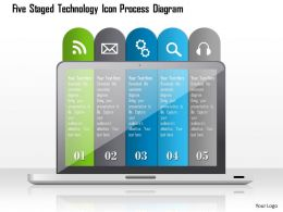 1214 Five Staged Technology Icon Process Diagram Powerpoint Template