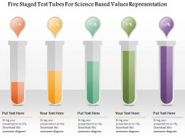 1214 Five Staged Test Tubes For Science Based Values Representation Powerpoint Template
