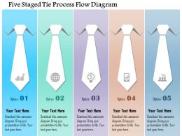 1214 Five Staged Tie Process Flow Diagram PowerPoint Template