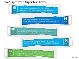 1214 Five Staged Torn Paper Text Boxes Powerpoint Template