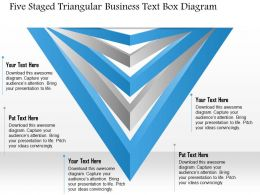 1214 Five Staged Triangular Business Text Box Diagram PowerPoint Template
