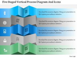 1214 Five Staged Vertical Process Diagram And Icons Powerpoint Template