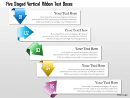 1214 Five Staged Vertical Ribbon Text Boxes Powerpoint Template