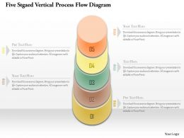 1214 Five Stgaed Vertical Process Flow Diagram Powerpoint Template