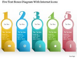 1214 Five Text Boxes Diagram With Internet Icons Powerpoint Template