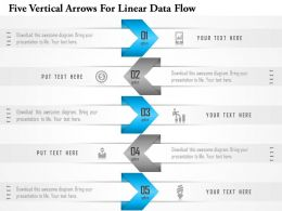1214 Five Vertical Arrows For Linear Data Flow Powerpoint Template