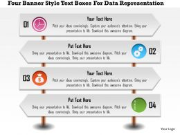 1214 Four Banner Style Text Boxes For Data Representation PowerPoint Presentation