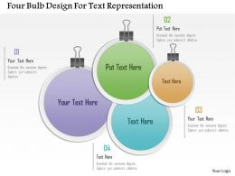 1214 Four Bulb Design For Text Representation Powerpoint Template