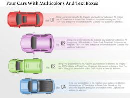 1214 Four Cars With Multicolors And Text Boxes Powerpoint Template