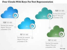 1214 Four Clouds With Keys For Text Representation Powerpoint Template