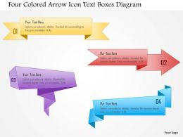 1214 Four Colored Arrow Icon Text Boxes Diagram Powerpoint Template