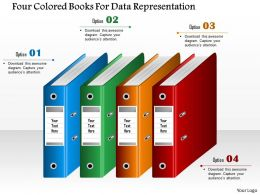 1214 Four Colored Books For Data Representation Powerpoint Template