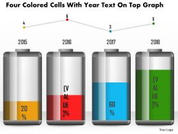 1214 Four Colored Cells With Year Text On Top Graph Powerpoint Slide
