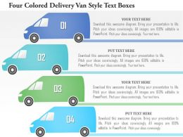 1214 Four Colored Delivery Van Style Text Boxes Powerpoint Template