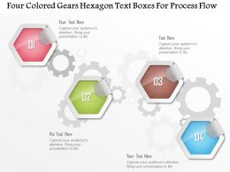 1214_four_colored_gears_hexagon_text_boxes_for_process_flow_powerpoint_template_Slide01