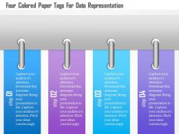 1214 Four Colored Paper Tags For Data Representation Powerpoint Template