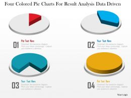 1214 Four Colored Pie Charts For Result Analysis Data Driven Powerpoint Slide