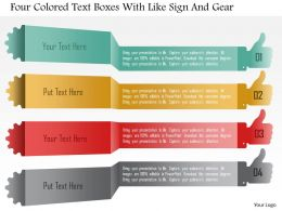1214 Four Colored Text Boxes With Like Sign And Gear Powerpoint Template