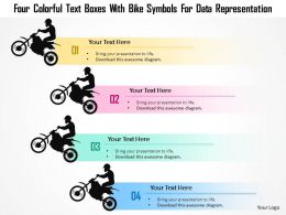 1214 Four Colorful Text Boxes With Bike Symbols For Data Representation Powerpoint Template