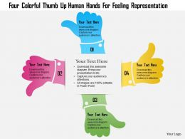 1214 Four Colorful Thumb Up Human Hands For Feeling Representation Powerpoint Template
