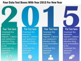1214 Four Data Text Boxes With Year 2015 For New Year PowerPoint Template