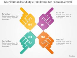 1214 Four Human Hand Style Text Boxes For Process Control Powerpoint Template