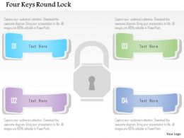 1214 Four Keys Round Lock Powerpoint Template