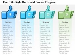 1214 Four Like Style Horizontal Process Diagram Powerpoint Template