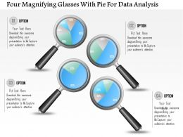 1214 Four Magnifying Glasses With Pie For Data Analysis Powerpoint Slide