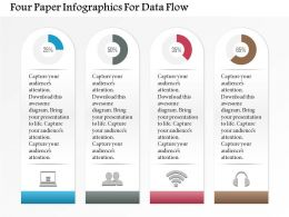 1214 Four Paper Infographics For Data Flow Powerpoint Template