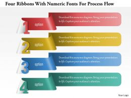 1214 Four Ribbons With Numeric Fonts For Process Flow Powerpoint Template