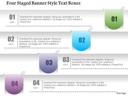 1214 Four Staged Banner Style Text Boxes Powerpoint Template