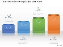 1214 Four Staged Bar Graph Style Text Boxes Powerpoint Template