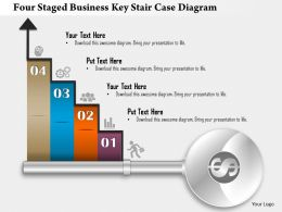 1214 Four Staged Business Key Stair Case Diagram PowerPoint Template