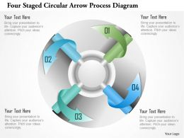 1214 Four Staged Circular Arrow Process Diagram Powerpoint Template