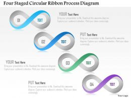 1214 Four Staged Circular Ribbon Process Diagram Powerpoint Template