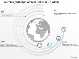 1214 Four Staged Circular Text Boxes With Globe PowerPoint Template