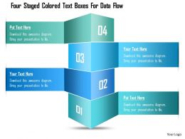 1214 Four Staged Colored Text Boxes For Data Flow PowerPoint Template