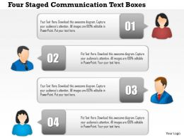 1214 Four Staged Communication Text Boxes PowerPoint Presentation