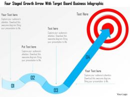 1214 Four Staged Growth Arrow With Target Board Business Infographic PowerPoint Template