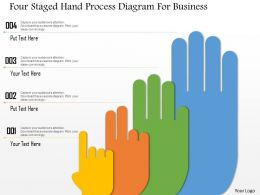 1214 Four Staged Hand Process Diagram For Business Powerpoint Template