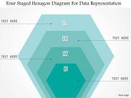 1214 Four Staged Hexagon Diagram For Data Representation Powerpoint Template