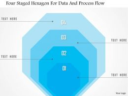 1214 Four Staged Hexagon For Data And Process Flow PowerPoint Template
