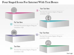 1214 Four Staged Icons For Internet With Text Boxes Powerpoint Template