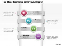 1214 Four Staged Infographics Banner Layout Diagram PowerPoint Template