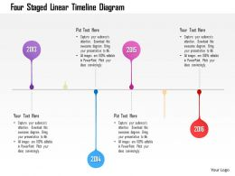 1214 Four Staged Linear Timeline Diagram Powerpoint Template